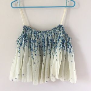 Free People ivory and blue floral top